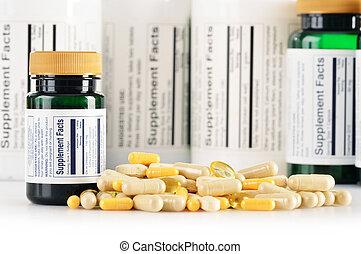 補足, capsules., 薬, 構成, 食事である, 丸薬