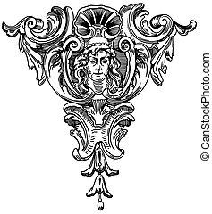 裝潢的元素, ......的, the, 正面, ......的, a, 具有歷史意義的建築物, 在, lviv,...