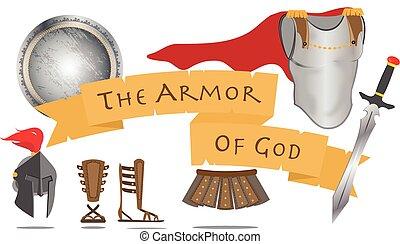 裝甲, ......的, 上帝, 基督教, 戰士, 耶穌基督, 精神, 簽署, 矢量, 插圖