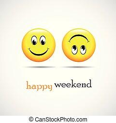 裝貨, 周末, 愉快, smileys