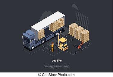 裝貨, 時間, concept., 控制, 卡車, 扁平木具, 工人, 插圖, 鏟車, 等量, 交付, cargo., 家, 辦公室。, 卸貨, 過程, 矢量, 倉庫, 工作