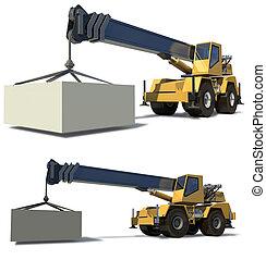 裝載, 貨物, jib, 背景。, 流動, drawing., crane., 准備好, 白色, 起重機
