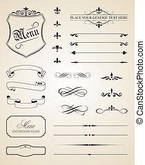 裝飾, 元素,  caligraphic, 頁