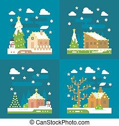 裝飾, 光, 設計, 聖誕節, 套間