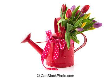裝飾, 噴壺, 由于, 花