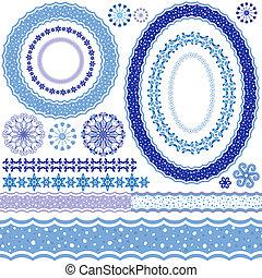 裝飾, 圖樣, 框架,  white-blue
