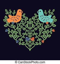 裝飾, 植物, 心