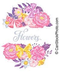 裝飾, 浪漫, 圖像, 邀請, 邀請, flowers., 微妙, 婚禮, 海報, 卡片, 卡片