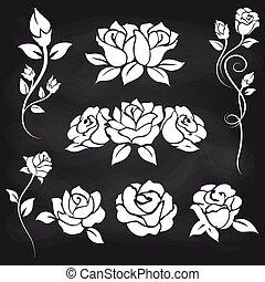 裝飾, 玫瑰, 上, 黑板