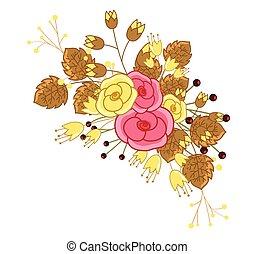 裝飾, 玫瑰, 花, 束
