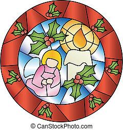 裝飾, 玻璃, 沾污, 聖誕節