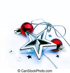 裝飾, 白色 聖誕節, 背景