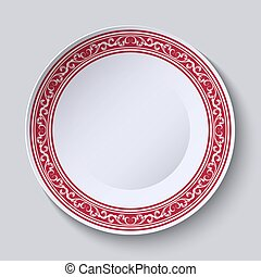 裝飾, 盤, 由于, an, 种族, 花卉 樣式, 上, the, 邊緣, 為, 你, design.