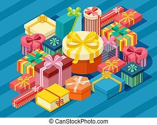 裝飾, 矢量, 包裹, 箱子, illustration., 紙, 很多, 分類, 禮物, 不同, 等量, 包裹, 鮮艷, ribbons., 禮物, 生日