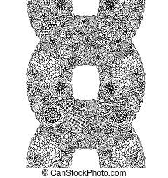 裝飾, 花, 帶子, 裝飾品, 環繞, 黑色, paisley., 植物, 白色, 壇場, 輪, design.