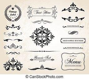 裝飾, 葡萄酒, 分切器, 裝飾品, 矢量, 邊境, 頁