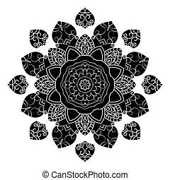 裝飾, 裝飾, amulet., pattern., 輪, mandala., 黑色, 种族, 小墊布, 幾何學, 元素, 白色