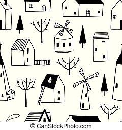 裝飾, 鎮, seamless, 圖案