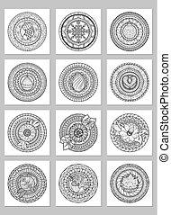裝飾, 集合, 帶子, 畫, 裝飾品, 有, 輪, mandalas.circle, 黑色, white., 裝飾品, collection., 小墊布, 圖案, 幾何學, 心不在焉地亂寫亂畫