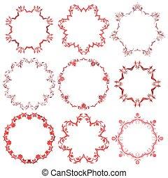 裝飾, 集合, 框架, 聖誕節, 輪, 紅色