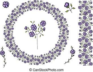 裝飾, 顏色, 框架, 明亮, 植物, 花, 輪