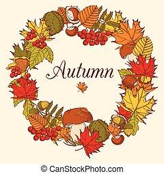 裝飾, 顏色, 秋天, 框架