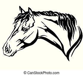 裝飾, 馬, 插圖, 矢量, 6, 肖像