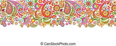 裝飾, 鮮艷, 摘要, seamless, 印刷品, 花, 邊框