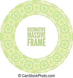 裝飾, 鮮艷, 框架, 插圖, 矢量, 綠色, 輪