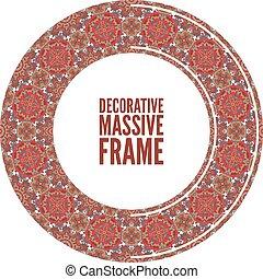 裝飾, 鮮艷, 框架, terracotta, 矢量, 輪, 插圖