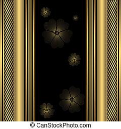 裝飾, 黑色和, 黃金, 框架