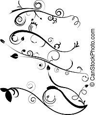 裝飾, flourishes, 集合, 4
