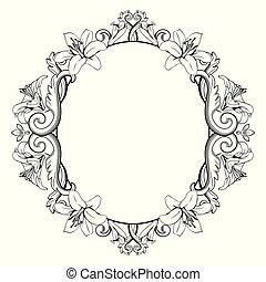 裝飾, lilies., 葡萄酒, 框架, 插圖, 顏色, 矢量, 黑色, 白色