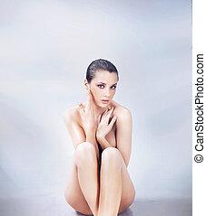 裸である, かわいい, ブルネット, ポーズを取る, 若い