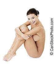 裸である, セクシー, 女, フィットしなさい, 幸せ