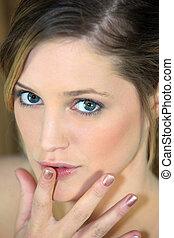 裸である, 唇, 女, 指, 彼女