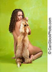 裸である, 毛皮, 女の子, キツネ