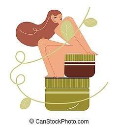 裸である, bodycare, 有機体である, 女, 化粧品, モデル, skincare, 自然