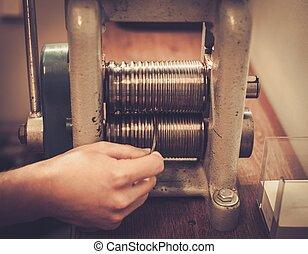 製作, 幫助, 金屬, mill., 滾動, 寶貴, goldsmith