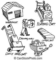 製造, セット, 図画, アイコン