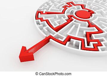 複合センター, 解決, 線, 方法, 迷路, 白, exit., ファインド, 赤