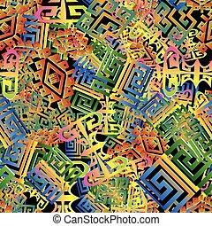 複雑, ギリシャ語, pattern., seamless, 3d
