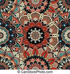 複雑, パターン, boho, 花