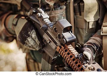 襲撃, 手袋, 保有物, ライフル銃, はんだ, 自動