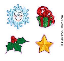 西洋ヒイラギ, -, アイコン, セット, 贈り物, 雪片, クリスマス, 星