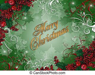 西洋ヒイラギ, クリスマス, 背景, ベリー