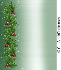 西洋ヒイラギ, ボーダー, クリスマス, イラスト