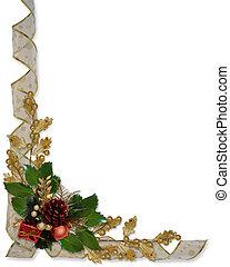 西洋ヒイラギ, リボン, ボーダー, クリスマス