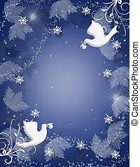 西洋ヒイラギ, 背景, クリスマス, 鳩, きらめき