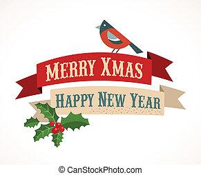 西洋ヒイラギ, 背景, 鳥, leafs, クリスマス